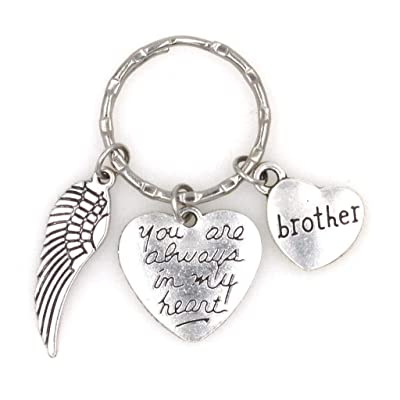 You are Always in My Heart Angel Wing Brother Keychain 107L: Automotive