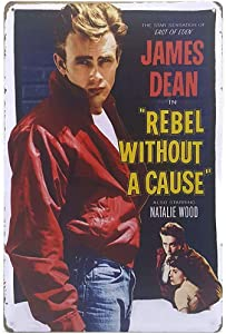 James Dean in Rebel Without a Cause (1955), Metal Tin Sign, Bar Wall Decorative Sign Art Bar Wall Decor 12X8 Inches