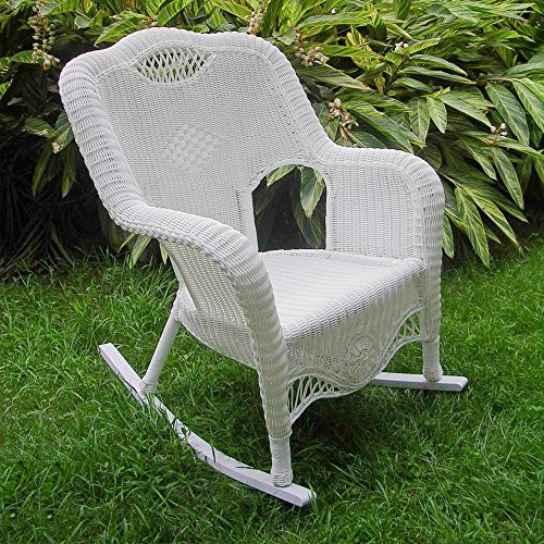 International Caravan 3195-WT-IC Furniture Piece Resin Wicker Indoor/Outdoor Rocker