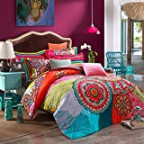 COMFORTEX Boho Bedding Set Queen Size Bohemian Duvet Cover Sets 4Pcs 100% Thick Sanded Cotton Excellent Feeling Soft and Comfortable 1 Duvet Cover, 1 Flat Sheet, 2 Pillowcases (Bohemian)