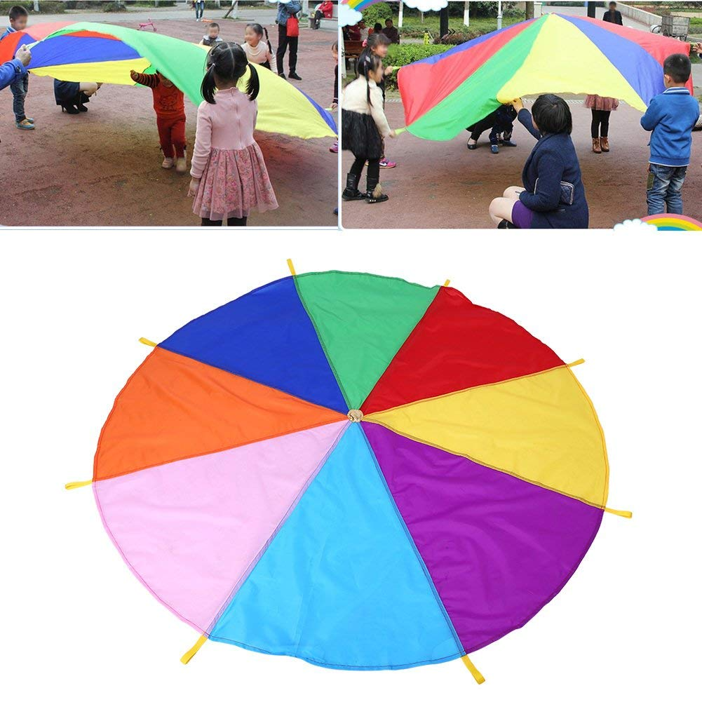 capus Funny Parachute for Kids with 8 Sturdy Handles, Outdoor Games for Kids Gymnastics Cooperative Games,Kids Birthday Gifts,12 Foot by capus