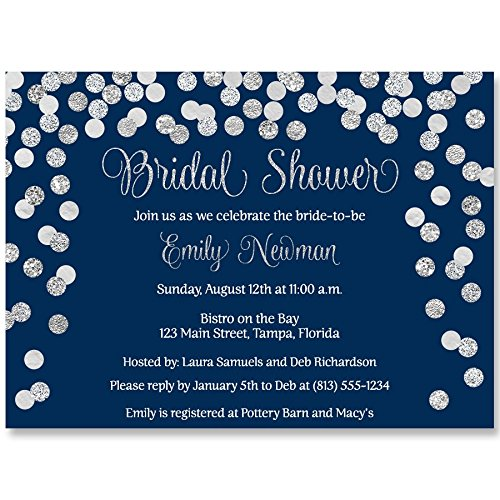 Bridal Shower Invitations,Navy Blue, Silver, Confetti, Glitter, Sparkle, Wedding Shower, Champagne Brunch, Personalized, Set of 10 Custom Printed Invites with Envelopes, Brunch & Bubbly]()