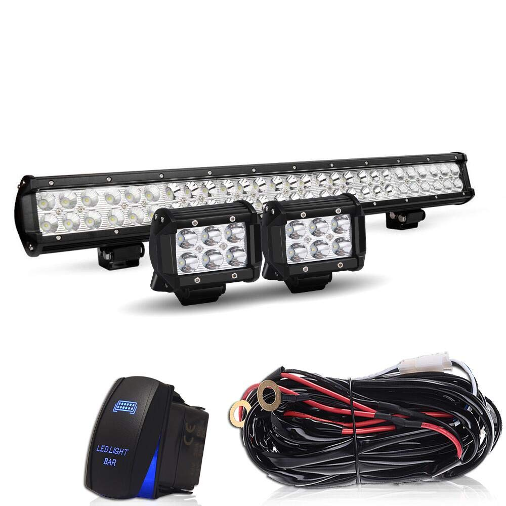 1 Year Warranty TURBO SII 25Inch 162W Led Light Bar Spot Flood Combo Led Bar 2PCS 4Inch 18W LED Pods Fog Lights with Wiring Harness Kit-3 Leads For Jeep Dodge Polaris RZR Ford Pickup ATV SUV Cars