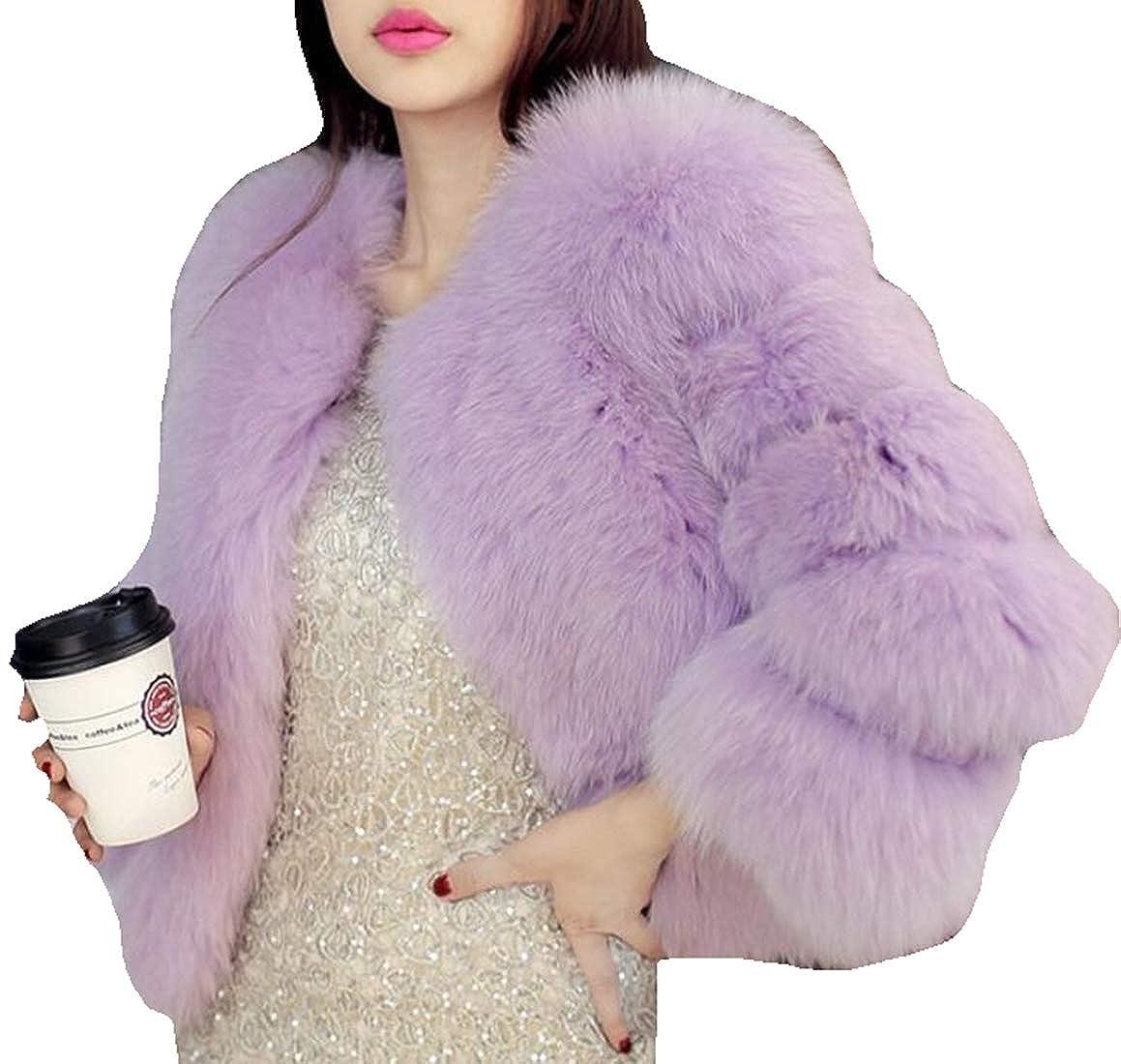 5 Generic Womens Faux Fur Coat Long Sleeve Winter Warm VNeck Fluffy Wrap Jacket Outwear