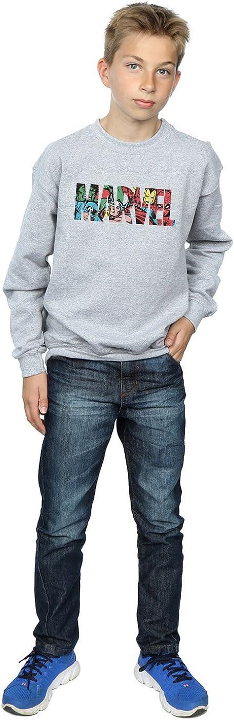 Marvel Comics Jungen Logo Character Infill Sweatshirt Sport Grau 12-13 Years