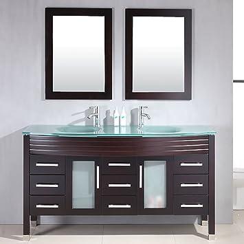 Amazon.com: 63 Inch Espresso Wood & Gl Double Sink Bathroom ... on double sink bathroom floor plans, double sink vanity with makeup area, 48 double sink vanity, double sink bathroom designs, double sink plumbing, double sink dresser, double sink vanity set, double vanity sinks and countertops, small double sink vanity, double sink bathroom renovation, double sink wet bar, glass bowl sinks and vanity, double sink bathroom mirrors, double sink granite, double sink glass vanity, diy double sink vanity, double sink vanity top, double sink bathroom decorating ideas, double sink bathroom furniture, double bathroom sink tops,