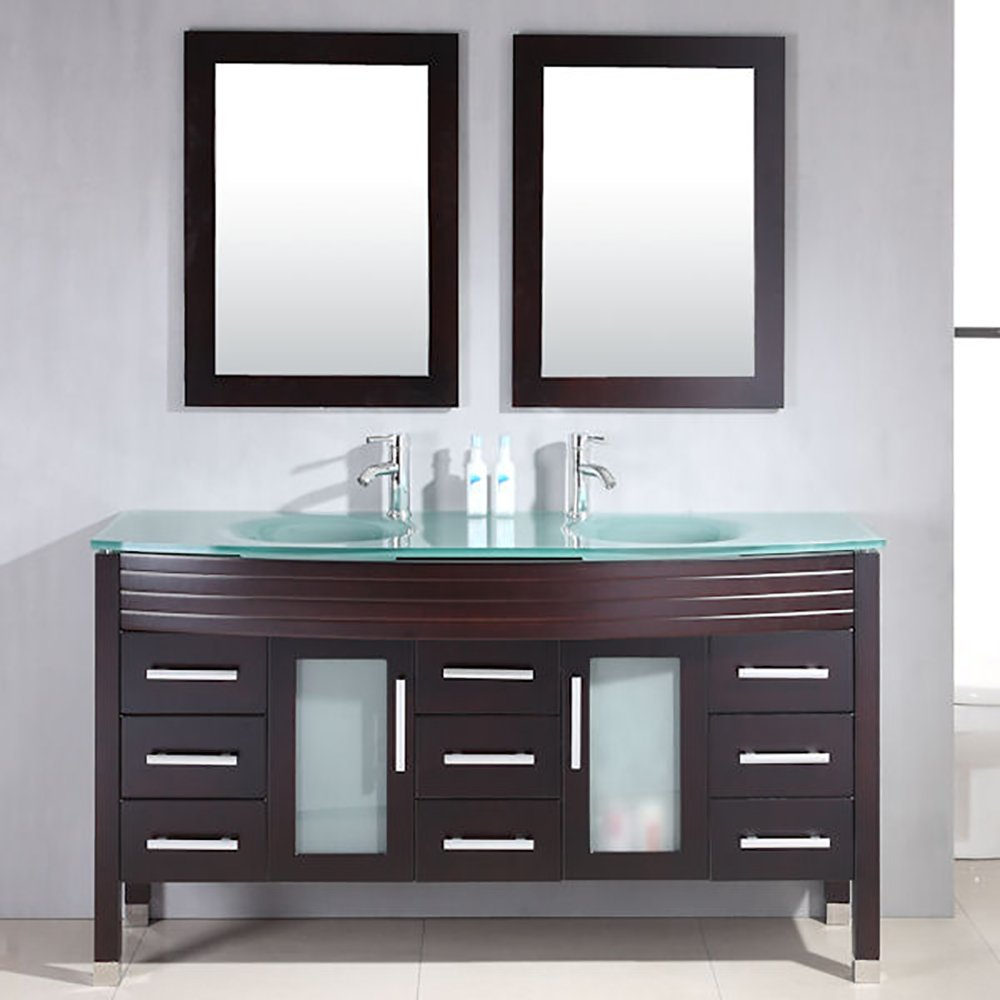 63 Inch Espresso Wood & Glass Double Sink Bathroom Vanity Set- ''Howell'' by The Tub Connection