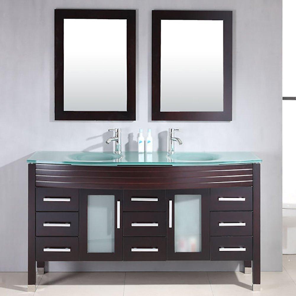 63 Inch Espresso Wood & Glass Double Sink Bathroom Vanity Set- ''Howell''