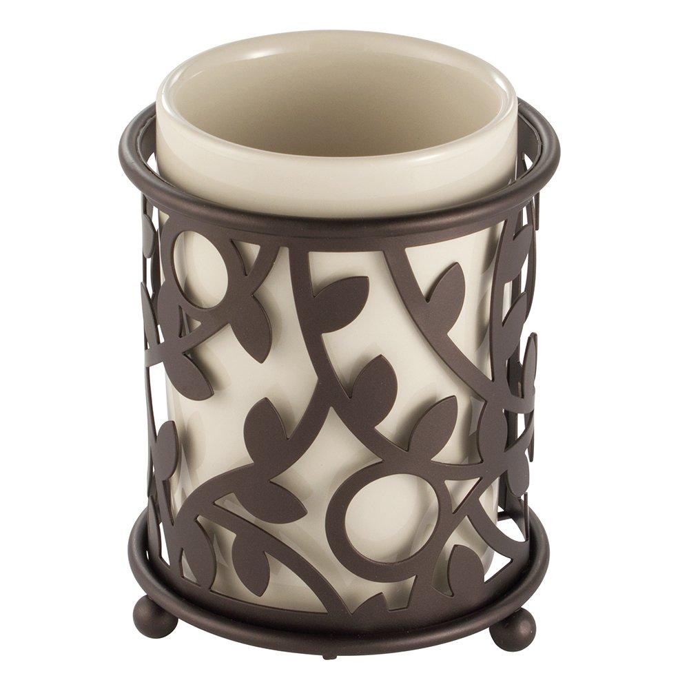 InterDesign Vine Bar Soap Dish for Bathroom Vanities, Kitchen Sink - Vanilla/Bronze Inc. 86441