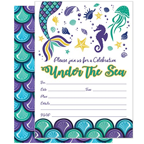 Mermaid Party Invitations for Kids: Pack of 25 Under the Sea Birthday Invites with Envelopes | Tell Everyone about Your Girls or Boys Magical Party with these Invitation Postcards by Rock Era Inc