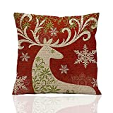 Decorative Pillow Cover - ME COO Deep red Christmas series the Christmas elk Christmas tree hug pillow covers decorative pillow covers standard pillow coer 18 Inches × 18 Inches 1Pcs