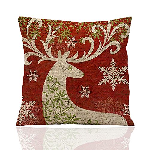 me coo deep red christmas series the christmas elk christmas tree hug pillow covers decorative pillow covers standard pillow coer 18 inches 18 inches 1pcs - Christmas Decorative Pillows