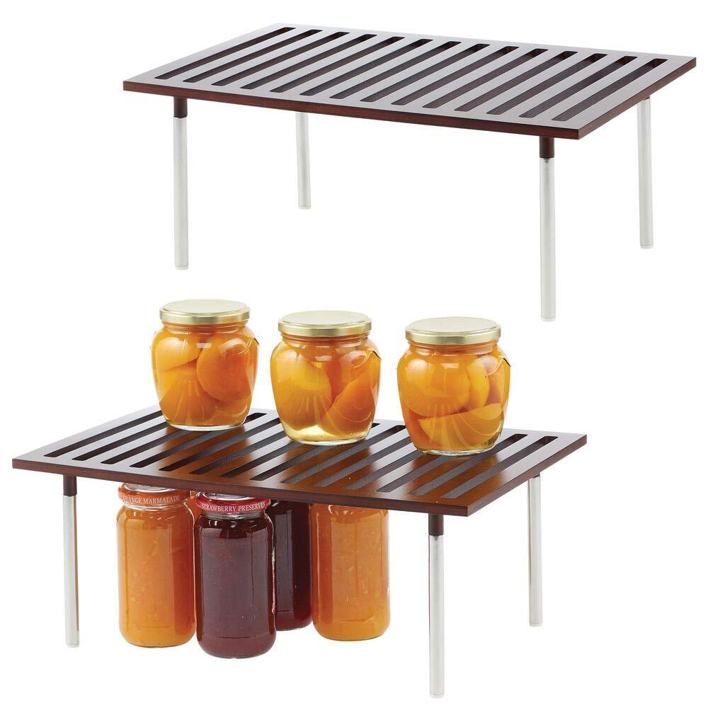 Elegante estante de almacenamiento para armarios de cocina etc Pr/áctico sistema de almacenaje de cocina de bamb/ú y metal natural encimeras mDesign Organizador de cocina