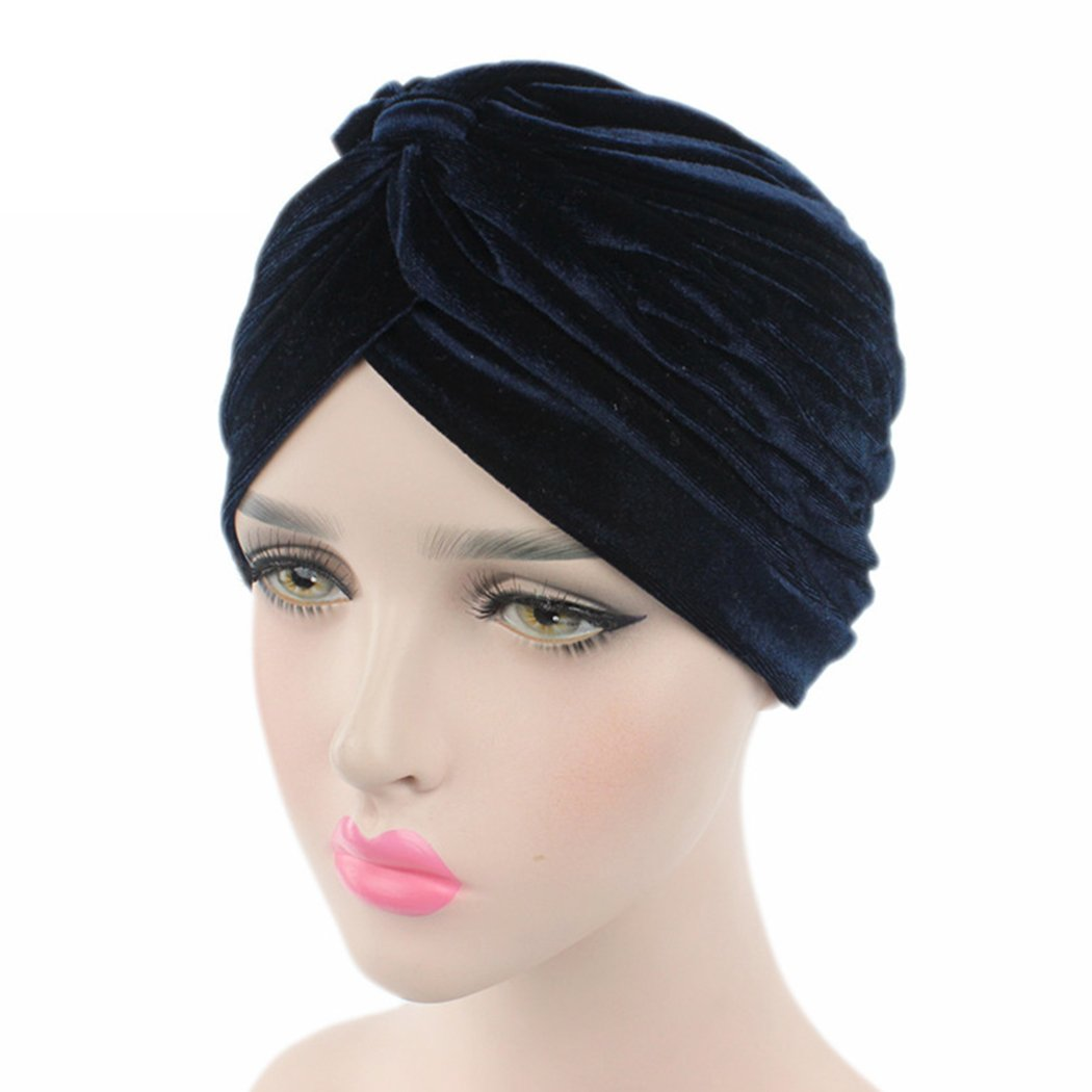 xzbailisha Women s Velvet Hats Vintage Double Flower Beanie Turban Muslim  Islamic Cap Black) XZZ151 a7404211111d