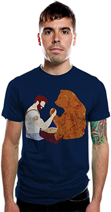 e38eea9e2 Amazon.com: Lumberjack Arm Wrestling Grizzly Bear Shirt Funny T shirt for  Dad Chuck Norris Etsy Art: Clothing