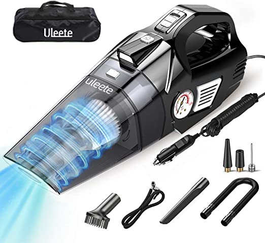 Black Allincar Light Portable Car Vacuum Cleaner for Both Car and Home Cleaning with Wet or Dry for Men//Women Corded 4500PA 120W High Power