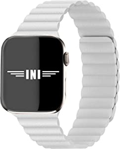 INI Compatible with Apple Watch Band 44mm 42mm Regular - Enhanced Adjustable Leather Strap with Magnetic Closure System for iWatch Series SE/6/5/4/3/2/1 - Cotton