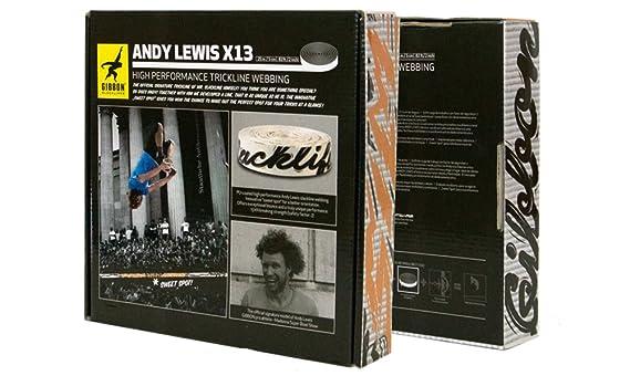 Gibbon Slacklines Andy Lewis Trickline Set Jumpline Trickline,2//50mm breit 22m Band + je 1x 2m und 3m Rundschlingenfixierung plus 2 Sch/äkel 25 Meter Schwarz// Wei/ß