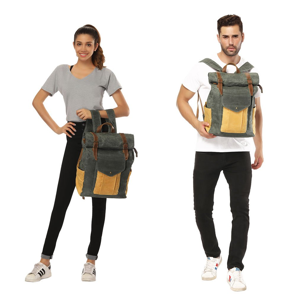 Partrisee Vintage Waxed Canvas Leather Backpack Large 17'' laptop Purse Rucksack School Gift Bag for men women-Lake Green by Partrisee (Image #4)