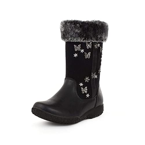 Girls Ankle Boot Faux Fur Boot in Black by Walkright