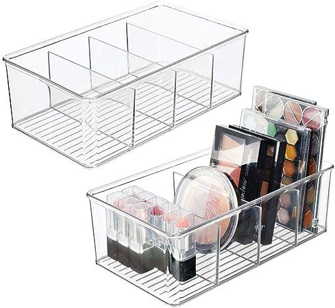 mDesign Juego de 2 organizadores de maquillaje para baño – Caja para cosméticos con 4 compartimentos – Cajas para guardar maquillaje, pintaúñas, medicamentos y más en plástico – transparente: Amazon.es: Hogar
