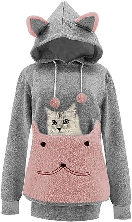 UK Qute Women Kid Matching Suit Pet Pocket Holder Carrier Coat Hoodie Sweatshirt