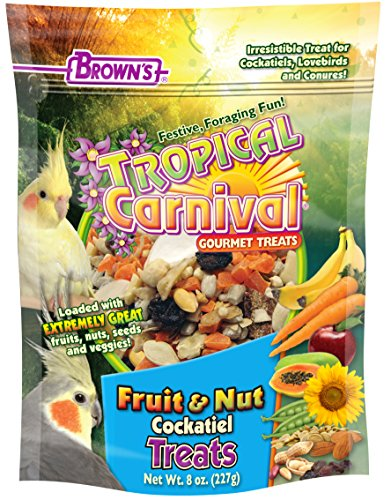 Conure Fruit Blend (F.M. Brown's Tropical Carnival Fruit & Nut Cockatiel, Conure and Lovebird Treat with Natural Fruits, Nuts, Seeds and Veggies, Treat Bits Designed for Small Hookbills, 8oz)