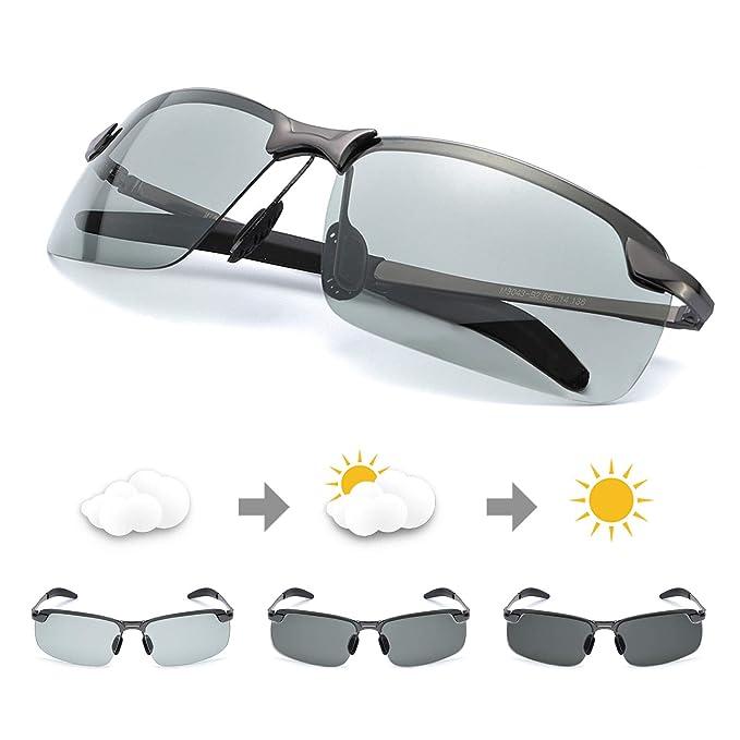 Rectangulares Gafas de Sol Hombre Polarizadas Premium Lentes Photochromic Grises Antideslumbrante -Protección UV 400 (