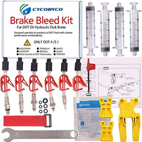 Bicycle Hayes Brake - CYCOBYCO DOT Oil Disc Brake Bleed Kit Bike Bicycle Tool for AVID Sram Dode Juicy Hope BNGAL Hayes J3 J5 J7 Formula (Set B)