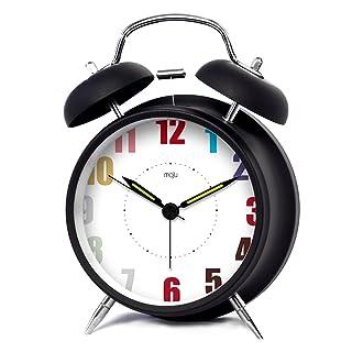 Buona azione sveglia Quarzo analogico Twin Bell Alarm Clock Edificato nel Nightlight 4 pollici (Colore : Silver)