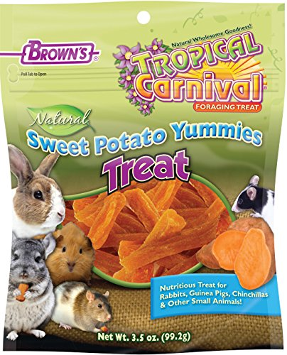 F.M. Brown's Tropical Carnival Natural Sweet Potato Yummies with Vitamin C, Nutritious Treat for Rabbits, Guinea Pigs, Chinchillas and Other Small Animals, 3.5oz (Pig Sweet)