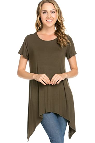 a4c30d58850 2LUV Women s Short Sleeve Tunic with Sharkbite Hem Olive S at Amazon Women s  Clothing store
