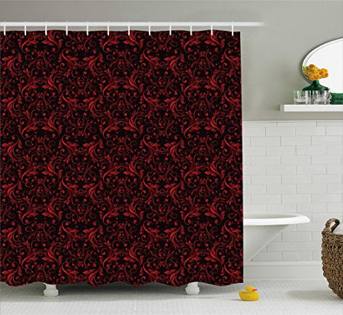 Ambesonne Red and Black Shower Curtain, Victorian Floral Design with Ivy Swirls Flowers Ethnic Design Image Print, Fabric Bathroom Decor Set with Hooks, 84 inches Extra Long, Ruby (Black Floral Swirls Design)