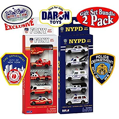 "Daron FDNY (Fire Department City of New York) & NYPD (New York City Police Department) Emergency Vehicles ""Matty's Toy Stop"" Exclusive Gift Set Bundle - 2 Pack (10 Vehicles Total): Toys & Games"