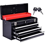 Goplus 20-Inch Portable Steel Tool Box Tool Chest Cabinet w/ 3 Drawers and Top tray, Black&Red