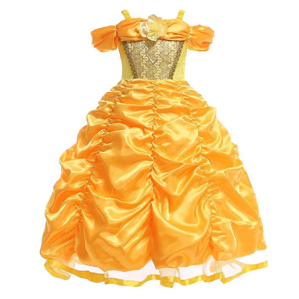 Shusuen Girls Cinderella Princess Gowns Kids Tulle Flower Girl' s Party Cosplay Dresses Yellow by Shusuen_Clothes