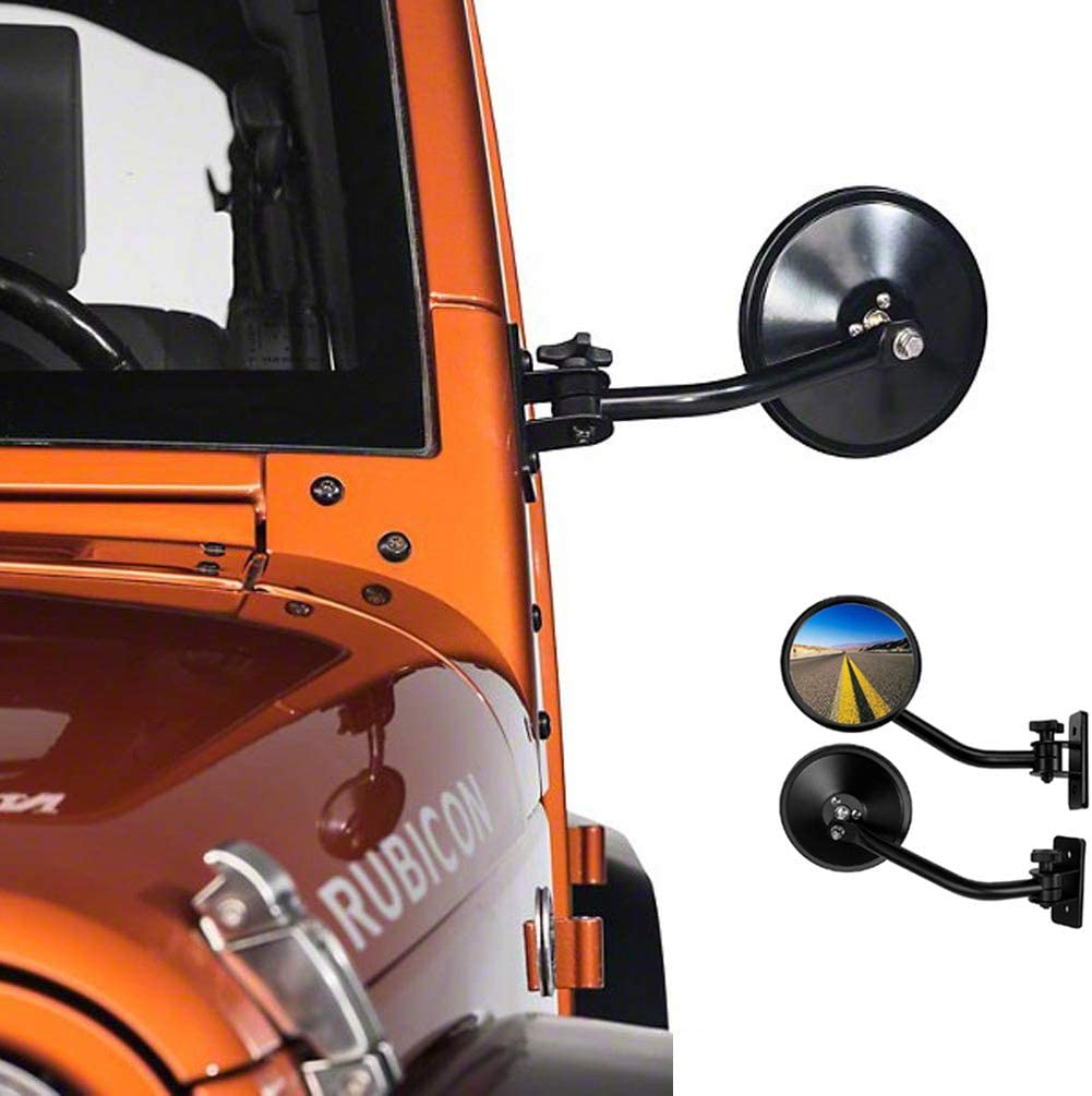 Round Rear View Miroir One Pair of Side view Miroirs For J-e-ep Wrangler JK TJ CJ YJ JL JKU 1945-2018 Rubicon Unlimited Sport Sahara Off Road Adventure Door Miroir 2pcs