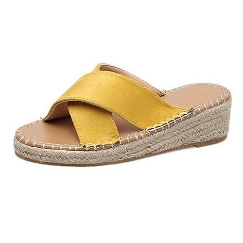ASHOP Sandalias Mujer Bohemia Las Bailarinas Planas Zapatos de Cordones Verano Cuñas de Alpargatas Moda Zapatillas De Playa Sandalias y Chanclas de Cuero ...
