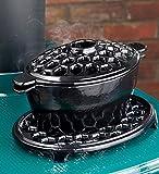 2.3 QT. Cast Iron Lattice Steamer And Trivet Set, in Black