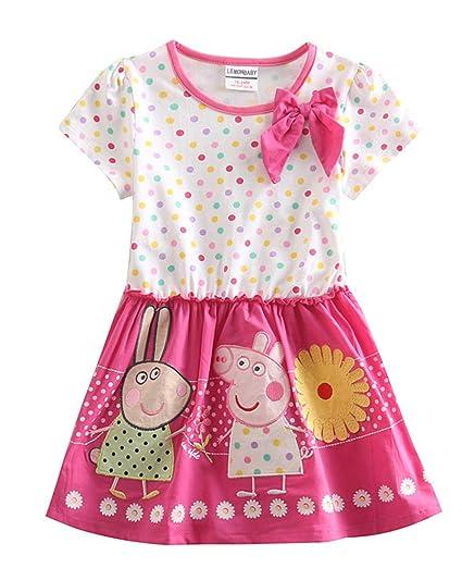 LEMONBABY Peppa Pig Cartoon Baby Girls Skirt Cotton Birthday Dress (2Y, Pink)