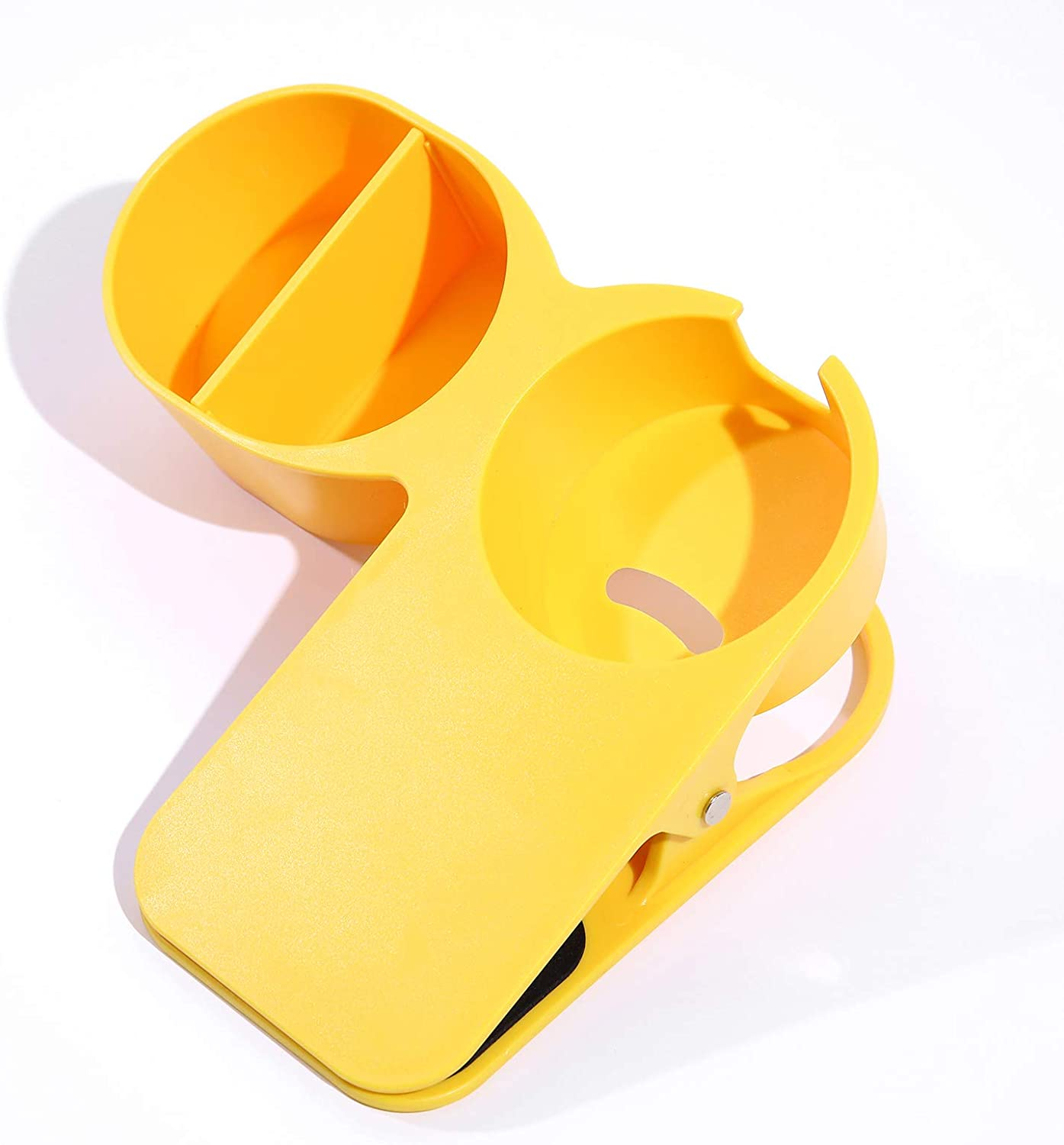 SunnyZoo Drinking Beverage Cup Holder Clip Home Office Table Desk Side Clip Water Coffee Mug Holder with Extra Storage Tray Design (Yellow)