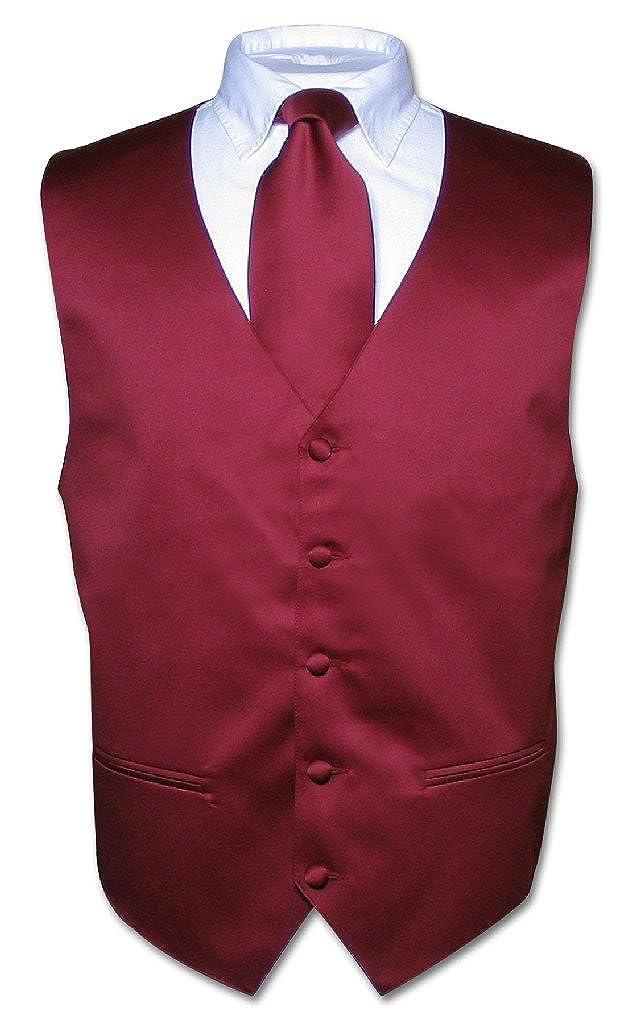 Los hombres del vestido chaleco y corbata sólido Borgoña Color ...