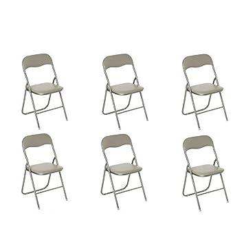 Atmosphera - Lote de 6 sillas plegables, color gris topo ...