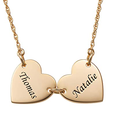 176b7485a4b55 Amazon.com: LONAGO Personalized 2 Heart Name Necklace Custom Mother ...