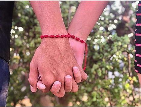 E-HONER 2 Piezas 7 Nudos Amante Cadena roja Amistad Pulsera atraer Riqueza Amuleto /éxito