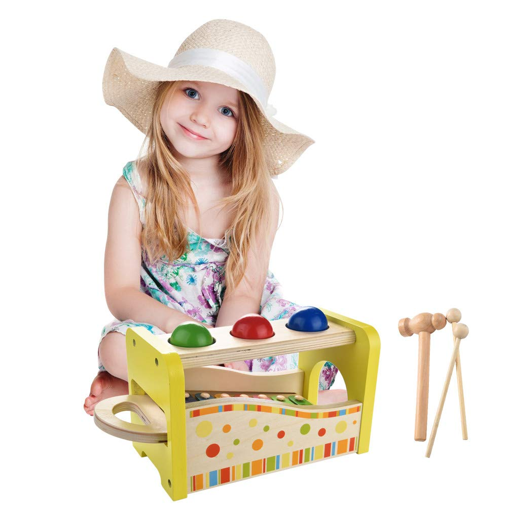 Celendi Wooden Hammering & Pounding Toys + 8 Notes Xylophone + Shape Color Recognition for Children's Day Gift