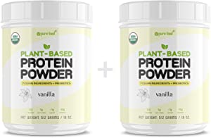 Pure Food: Plant Based Protein Powder with Probiotics | Organic, Clean, All Natural, Vegan, Vegetarian, Whole Superfood Nutritional Supplement with No Additives | Keto - Vanilla 2-Pack