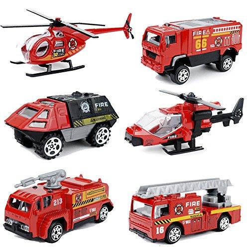 Emergency Vehicle Set (MinYn 6 PCS Fire Engine Vehicles Truck Die Cast Alloy Mini Rescue Emergency Car Model Fire Truck Toy Playset for Boys Kids)