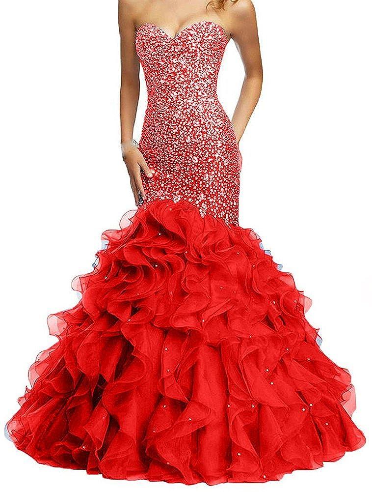 Red Honeydress Women's Mermaid Rhinestones Sweetheart Sleeveless Ruffles Prom Dress