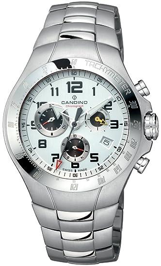 Candino Regatta Chrono - Reloj cronógrafo de caballero de cuarzo con correa de titanio plateada (cronómetro) - sumergible a 50 metros: Amazon.es: Relojes